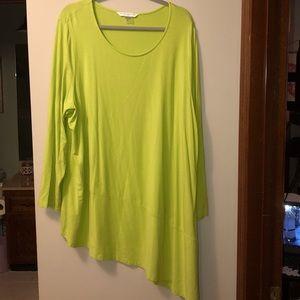 Nygard size 3x lime green asymmetrical top